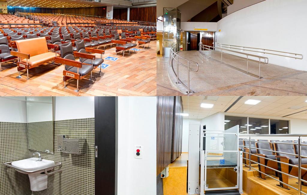 Palácio das Convenções do Anhembi tem auditórios com assentos para pessoas obesas, espaços para cadeirantes, plataformas elevatórias, banheiros acessíveis, rampas de acesso e mais estrutruras acessíveis. Fotos: José Cordeiro/ SPTuris.